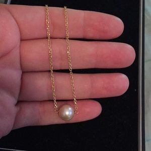 Jewelry - 14k gold necklace with pearl 16inch